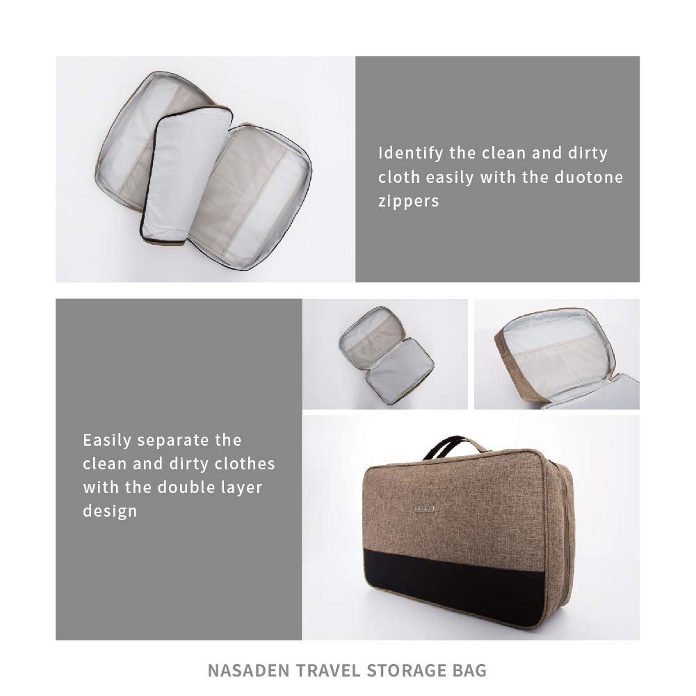 490d9fe9829f NaSaDen Travel Clothes separate Bag -Portable Packing Cube Fashion HQ  amazing waterproof organizers, seperate clean/dirty clothes best dividers  for ...