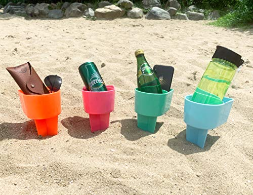 (Home Queen Beach Cup Holder with Pocket, Multifunctional Sand Cup Holder for Beverage Phone Sunglass Key, Beach Accessory Drink Sand Coaster, Set of 4 (Teal, Orange, Blue and Pink))