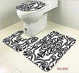 black cushion toilet seat Owl's-Yard 3-Piece Bathroom Set Bath Mat Rug Lid Toilet Covers Toilet Seat Cushion Non-Slip Rubber Backing (Flower Vine)