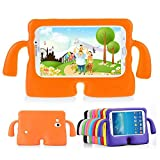 Lioeo Samsung Galaxy Tab 3 / 3 Lite 7.0 Case for Kids Rubber Shock Proof Protective Case Cover with Carry Handle for Samsung Galaxy Tab 3 /3 Lite Tablet 7 inch Screen (Orange)