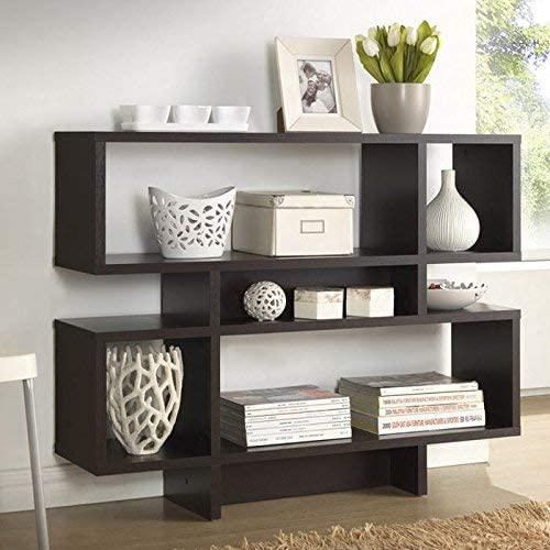 Baxton Studio Cassidy 4-Level Modern Bookshelf, Dark Brown