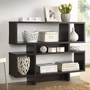 Baxton Studio Cassidy 4-Level Modern Bookshelf, Dark Brown