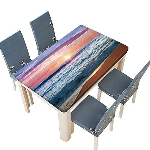 Tablecloth Sunrise at Punta Cana,Dominican Republic for Indoor and Outdoor Use W57 x L96.5 INCH (Elastic Edge) ()