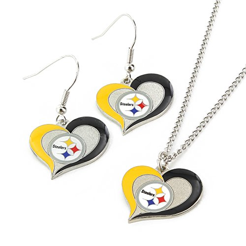 NFL Pittsburgh Steelers Swirl Heart Earrings & Pendant Set