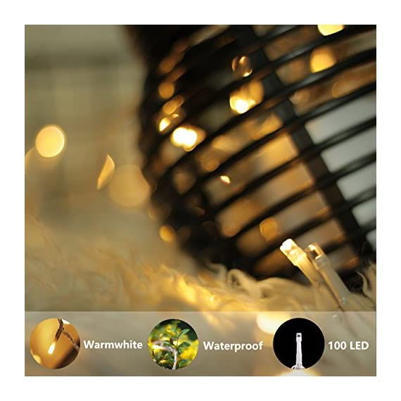LED String Lights, by myCozyLite, Plug in String Lights, 49Ft 100 LED Warm White Lights with Timer, Waterproof, Perfect for Indoor and Outdoor use with 30V Low Voltage Transformer, Extendable - String Lights - Premium quality hanging lights with timer and plug, 15m long clear wire(10m String Lights, 5m Lead Wire), 30V low voltage transformer with 7.2W Rated Power. 8 Functions plus timer and memory Timer & Memory - Auto Timer Allows a Simple Press and Go, 6 Hours Running and 18 Hours Off Following by another 6 Hours Running, 24 Hours Cycling. Built-in Memory Chip will save the function till the next time light up. Extension - Connectable small string lights with male and female safe plug to fit different size Christmas trees and garlands, or to decorate patio, porch, backyard - patio, outdoor-lights, outdoor-decor - 51dX4y3ri3L. SS570  -