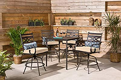 Montclair 5-Piece High-Dining Patio Set with 4 Swivel Chairs and a 33-in. Counter-Height Dining Table