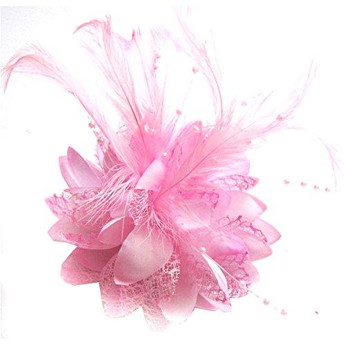 Pink Pin Hat Fancy (BAOBAO Wedding Bridal Flower Feather Bead Hairclips Fascinator Hairband Brooch Pin)