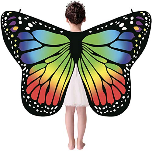 ALOVEMO Kid Baby Girl Butterfly Wings Shawl Scarves Nymph Pixie Poncho Costume Accessory - Dark Wings Nymph
