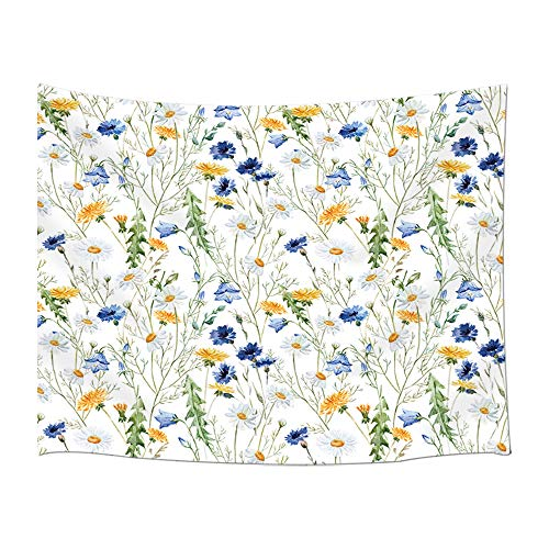 MILIER House Decoration Tapestry Wall Hanging, Yellow Daisy and Blue Wildflowers Flowering Plants Spring Art, Wall Tapestry for Bedroom Living Room Dorm Decor 71X60Inches. -
