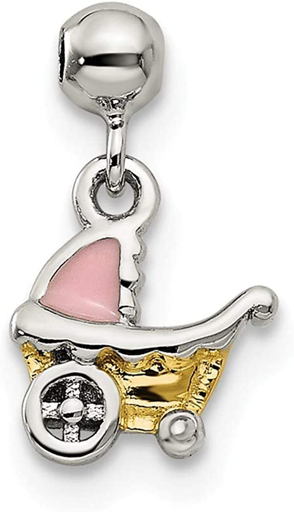 Jewels By Lux 925 Sterling Silver Mio Memento Gold Tone and Enamel Baby Carriage Charm Pendant