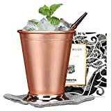 Beaded Mint Julep Cup Copper Stainless steel Moscow Mule Mug 12oz by Homestia for mule cocktail beverages soft drinks Handcrafted