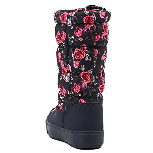 Women's Pattern Red Slip on Boots Snow H7624 Shenji Calf Mid 4RTBq