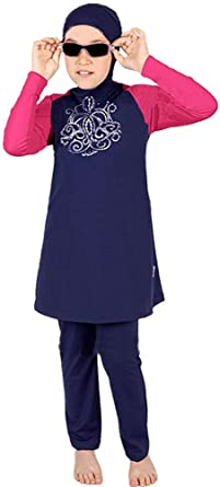 YEESAM Muslim Swimwear for Girls Kids Children Hijab Swimsuit Burkini