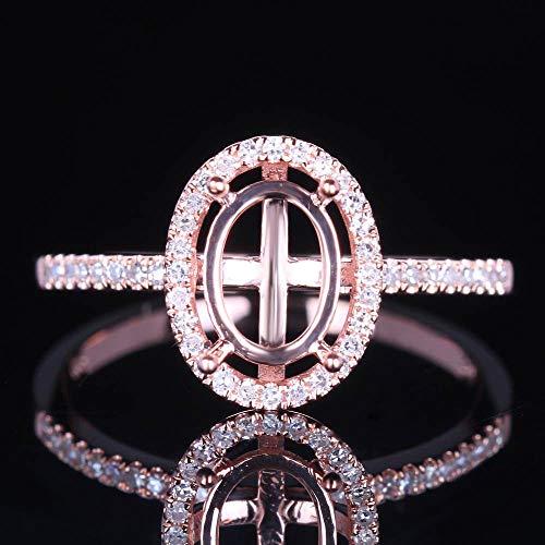 FidgetKute Sale 8X6MM Oval SEMI Mount Solid 10K Rose Pave FINE Jewelry Ring