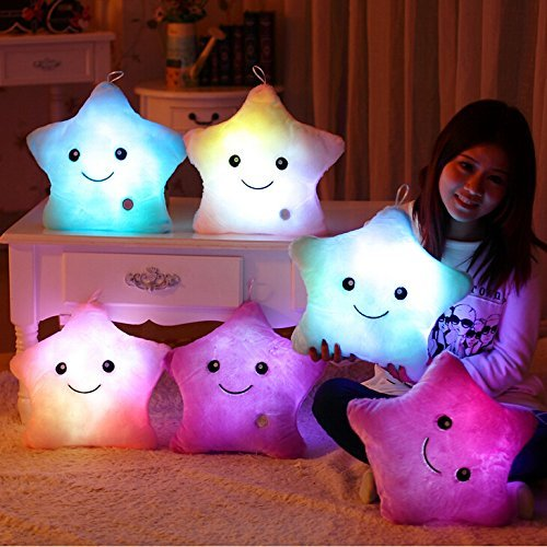 WEWILL 1 Creative Glowing LED Night Light Twinkle Star Shape Plush Pillow Stuffed Toys, Blue -