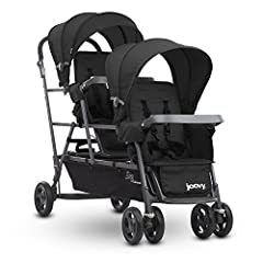 The Joovy Big Caboose Graphite Stand-On Triple Stroller makes it possible to stroll with three young children. The Big Caboose Graphite includes two full-size seats with ample legroom, removable canopies, two child trays and two universal car...
