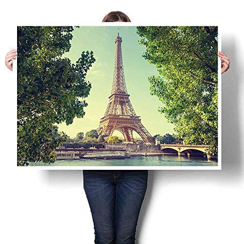 SCOCICI1588 Canvas Wall Art Large Romantic Oil Painting,Tower Decor Dinghies on The Seine River Trees View Print Art Green Blue Canvas,On Canvas,36