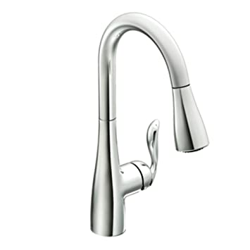 Elegant Moen Arbor One Handle High Arc Pulldown Kitchen Faucet, Chrome (7594C)