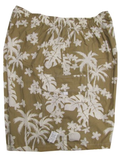 Men's Cargo Shorts - Coconut Tree Garden Elastic Waistband Inside Drawcord Flap Pocket Peached Cotton Shorts in Beige - M by Robert J. Clancey Shorts