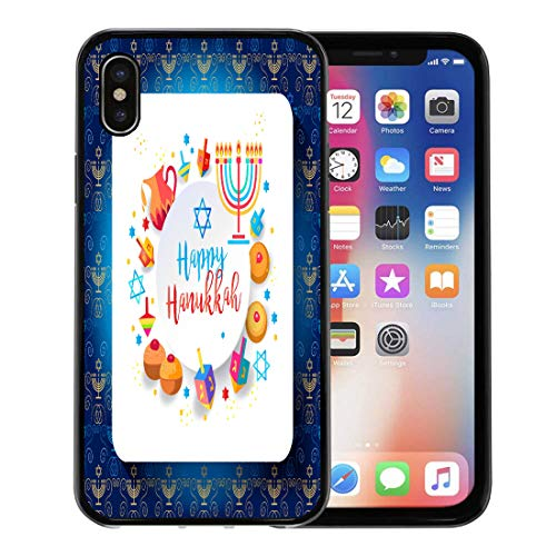 Emvency Phone Case for Apple iPhone Xs Case/iPhone X Case,Jewish Holiday Hanukkah Traditional Chanukah Symbols Wooden Dreidels Spinning Soft Rubber Border Decorative, Black ()