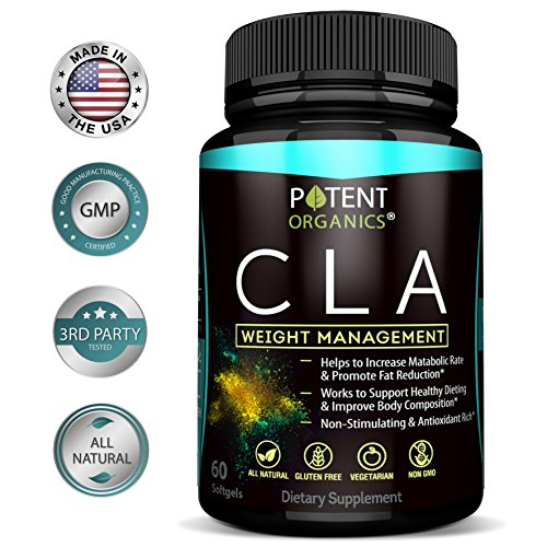 Potent CLA 1000 mg Softgels – 60 Pills – Supports Healthy Weight Loss - Natural Appetite Suppressant & Fat Burner – Made from 100% Pure Safflower Oil – 100% Money-Back Guarantee by Potent Organics