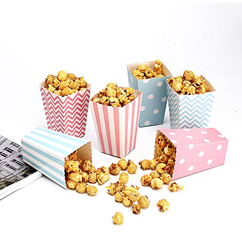 Miss C.CAT Popcorn Boxes Trio(30 Boxes) Polka Dot, Chevron, and Striped Assorted Designs - Movie Theater Night, Festivals, Wedding Favors (Blue,Pink)]()