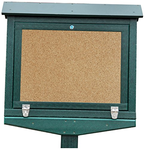 Frog Furnishings Hinged Message Center with One Side No Post, Small, Green