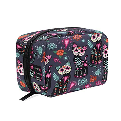 Cats Flower Halloween Cosmetic Bag Makeup Case, Animal Starry Night Toiletry Bags Travel Organizer Multifunction Purse for Women Adult Kids Vacation Bathroom