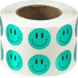 "1/2"" Inch Round Metallic Green Smiley Face Happy Stickers - Small Circle Adhesive Labels 1,000 Total"