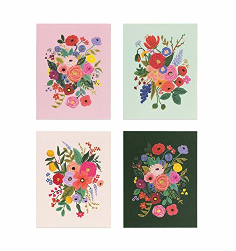 Garden Party Assorted Note Cards by Rifle Paper Co. -- Set of 8 Cards and Envelopes