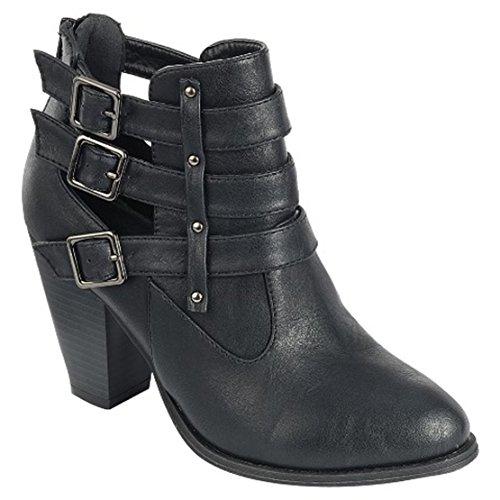 Titan Mall Forever Womens Buckle Strap Block Heel Ankle Booties Premier Black,Premier Black,7 B(M) US
