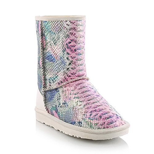 WeenFashion Women's Cow Leather Low-Heels Round-Toe Boots with Fish?Scale?Pattern and Thread, Pink, - Sale Chemist Boots