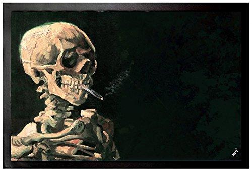 Vincent Van Gogh Door Mat Floor Mat - Skull with Burning Cigarette, 1886 (24 x 16 inches)