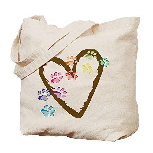 CafePress–Huellas corazón–Gamuza de bolsa de lona bolsa, bolsa de la compra