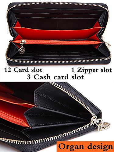Malirona Frauen blockieren große Kapazitäten Luxus echtes Leder Cluth Wallet Kartenhalter Damen Geldbörse Kreditkarte (Farbe-07) Farbe-07 K2pD5W7uQA