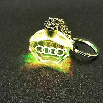 VILLSION LED Car Logo Keychain Key Chain Multicolor Crystal Light Keyring with Gift Box: Automotive