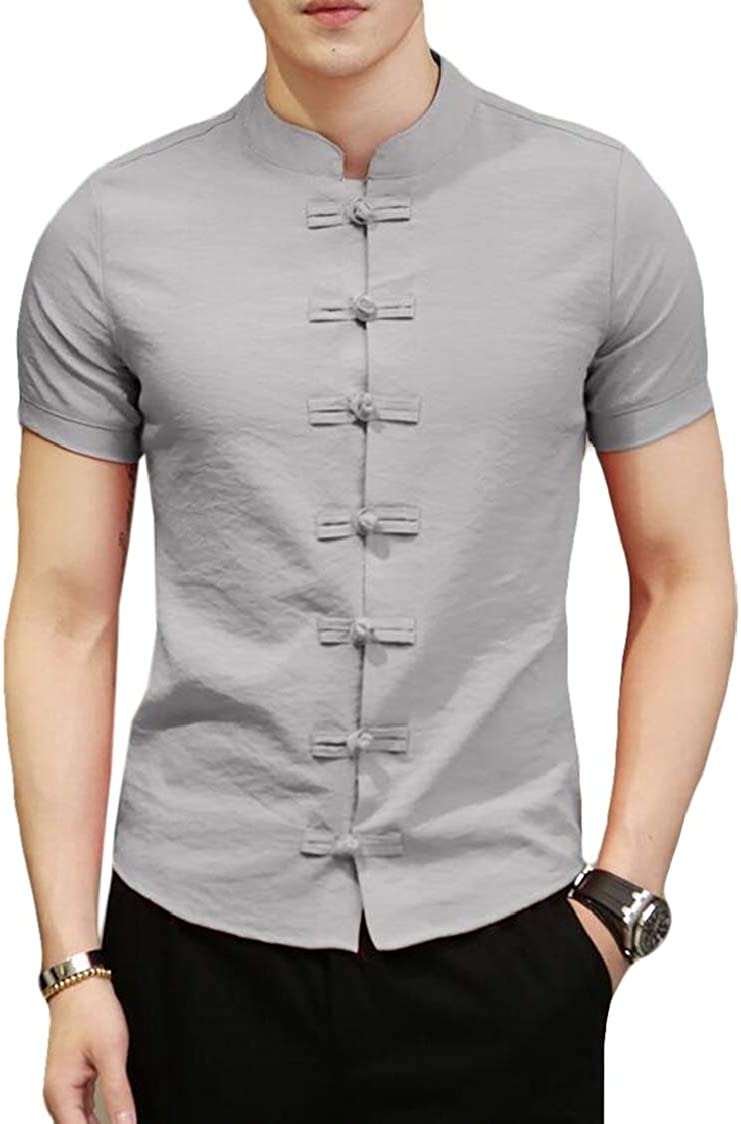 SELX Men Short Sleeve Chinese Style Frog Button Slim Fit Solid Casual Shirts
