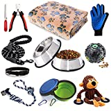 Puppy Starter Kit,12 Piece Dog Supplies Assortments,Set Includes:Dog Toys | Dog Bed Blankets | Puppy Training Supplies | Dog Grooming Tool | Dog Leashes Accessories | Feeding & Watering Supplies