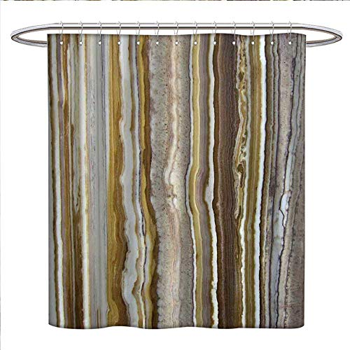 (Anyangeight Marble Shower Curtains Sets Bathroom Onyx Marble Rock Themed Vertical Lines and Blurry Stripes in Earth Color Print Satin Fabric Sets Bathroom W69 x L70 Mustard Brown)