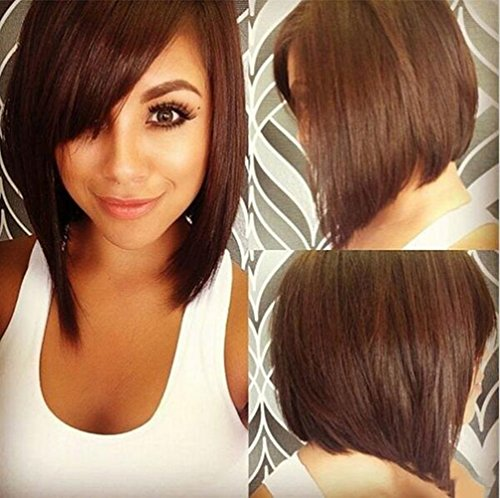 Synthetic Short Wigs for Black Women Straight Bob Hairstyle Brown Natural Wig Heat Resistant Female Cheap Fake Hair Z067BR