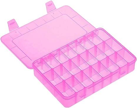 Kalolary 24 cajas organizadoras de plástico transparente con divisores ajustables, organizador de joyero de plástico con compartimiento extraíble para almacenamiento de cuentas, cartas de cartón, aparejos de pesca: Amazon.es: Juguetes y juegos
