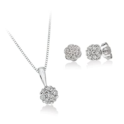 Amazoncom Diamond Floral Cluster Earrings and Pendant Necklace