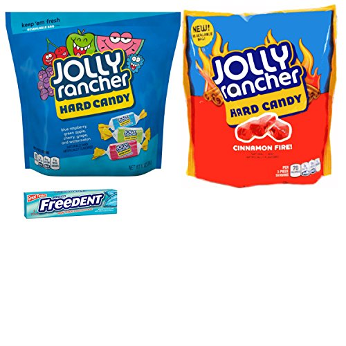 Jolly Ranchers Hard Candy Bags and Cinnamon Fire Large Candy Pieces Variety Pack. All Packed in Re-sealable Bags. Easy One-Stop Shopping for an Awesome Candy Experience. Includes Free Sample of Gum.
