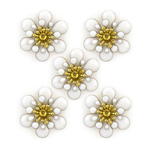 HAND ® Nette 3 Ebenen Details weißer Emaille und Messingblumen-Sew-On Borte - Verzierungen für Kleidung, Accessoires - Packung mit 5 Stück