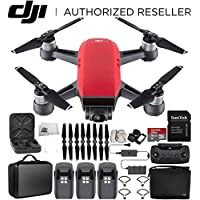 DJI Spark Portable Mini Drone Quadcopter Fly More Combo Portable Bag Shoulder Travel Case Bundle With Extra Battery (Lava Red)