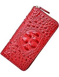 Leather Wallet for Women Crocodile Clutch Purse Card Holder Wristlet Wallet