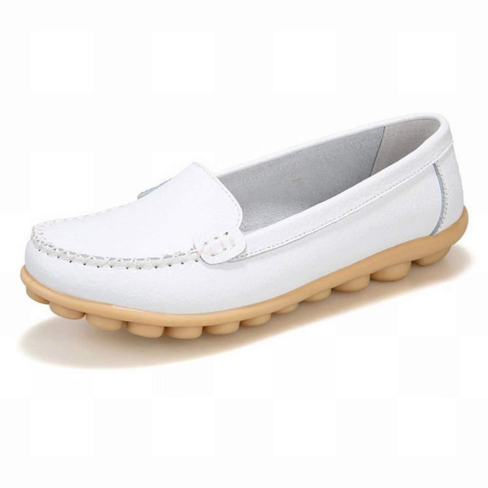 Fuxitoggo Leder Trend Frauen Single Schuhe Rutschfeste Tragen Bohnen Schuhe Große Damenschuhe (Farbe   Weiß Größe   38)