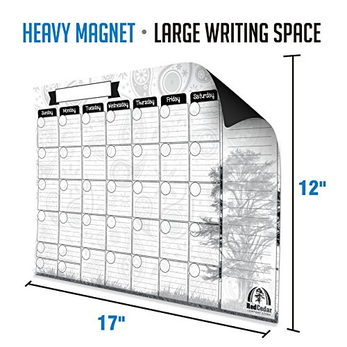 Designer Magnetic Calendar for Refrigerator | Free Magnetic Markers and Spray Cleaner | Dry Erase White Board For Kitchen Fridge With Strong Magnet | 17''X12'' | Beautiful Designer Background