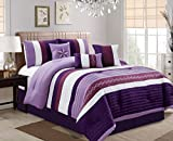 Oversized King Bed in a Bag Luxlen 7 Piece Bed in Bag Comforter Set, Oversized, Cal King, Purple, California
