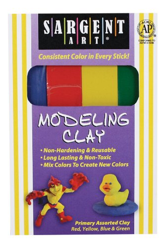 Modeling Clay Sticks - Sargent Art 22-4400 1-Pound Primary Assorted Color Clay